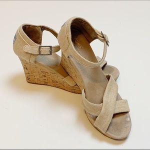 Tom's Canvas Strap Cork Wedge Heel Sandals